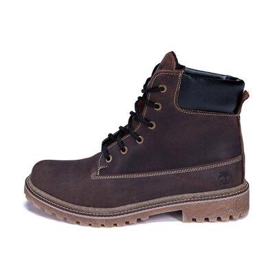 Мужские зимние кожаные ботинки Timberlend Crazy Shoes Chocolate