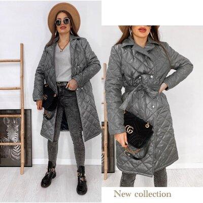 42 44 46 48 Демисезонное стеганое пальто черное стеганая куртка до колен серый стеганый плащ