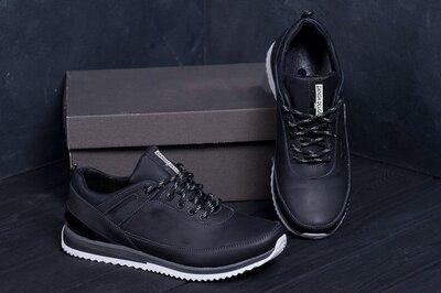 Мужские кожаные кроссовки, кроссовки черные кожаные мужские
