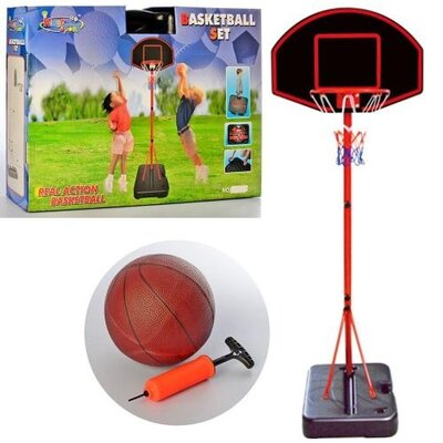 Баскетбольная стойка высота 1,88 м, кольцо 32 см, сетка, надувной мяч, насос, mr 0327 в чемодане