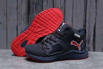 Зимние мужские кроссовки Puma, синие с красным, зима, мех.