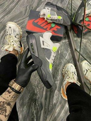 Кроссовки Найк Эйр Джордан 4 серый неон Nike Air Jordan 4 Retro SE Neon