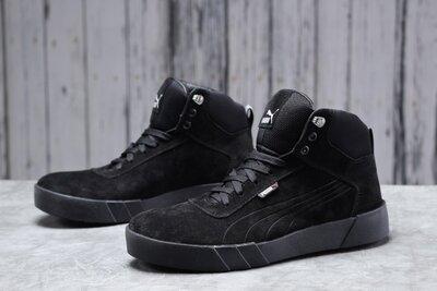 Зимние мужские Puma Sneaker, черные, натур.замш