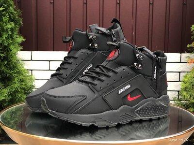 Nike Huarache кроссовки зимние мужские черные с красным 9970