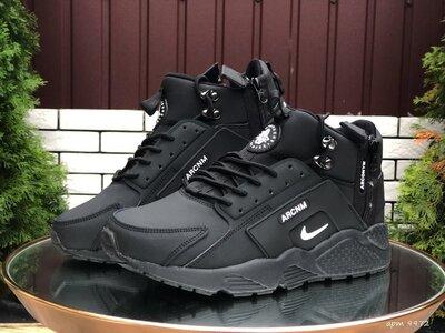 Nike Huarache кроссовки зимние мужские черные с белым 9972