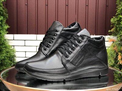 Зимние мужские ботинки Vankristi, черные натур.кожа