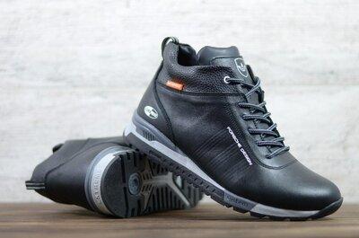 Лучшее качество. Зима. Украина. Мужские кожаные зимние кроссовки Adidas черный А-5 чер