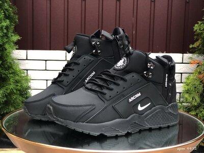 Зимние мужские кроссовки Nike Huarache, черные