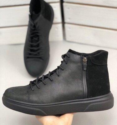 Ботинки мужские, натуральный нубук и замша, черные, деми и зима