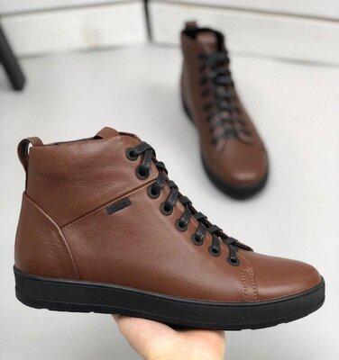 Ботинки мужские, натуральная кожа, деми, коричневые