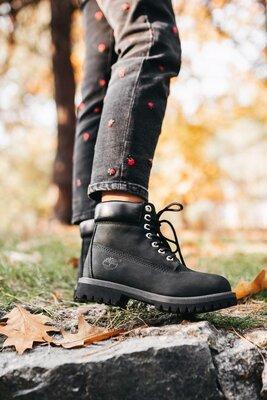 Черные демисезонные ботинки унисекс Timberland Black Термо