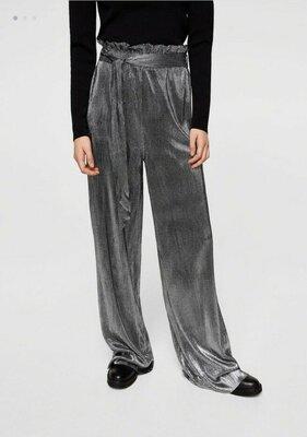 Штаны брюки кюлоты палаццо блестящие Mango