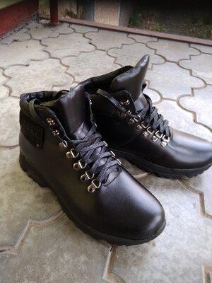 Кроссовки ботинки кожаные мужские зимние на натуральной шерсти
