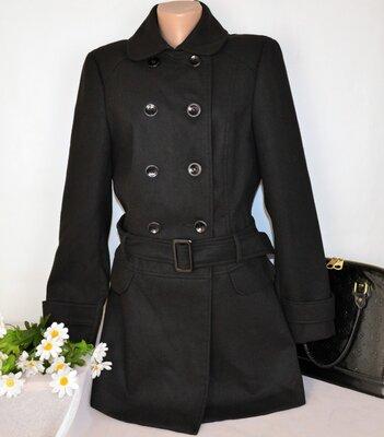 Черное демисезонное пальто с поясом и карманами new look вьетнам этикетка