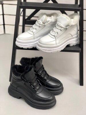 Черные и белые Очень крутые зимние ботинки женские
