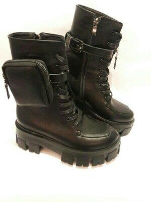 Женские зимние ботинки из натуральной кожи. Жіночі зимові чобітки.