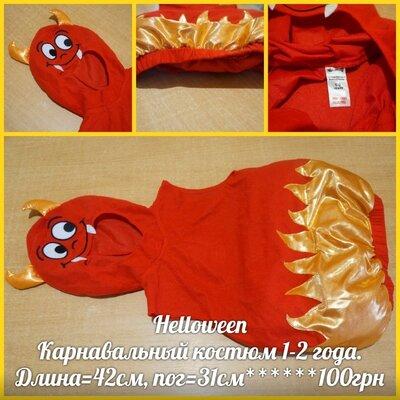 Helloween Карнавальный костюм 1-2 года чертенок бесенок карнавальний хелловін