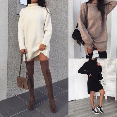 Женские теплые туники, платья до 52 размера