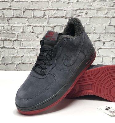 Зимние мужские кроссовки ботинки Nike Air Force Winter. Grey Red. Натуральная замша с мехом