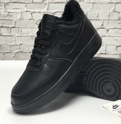 Зимние мужские кроссовки ботинки Nike Air Force Winter. Black. Кожа.