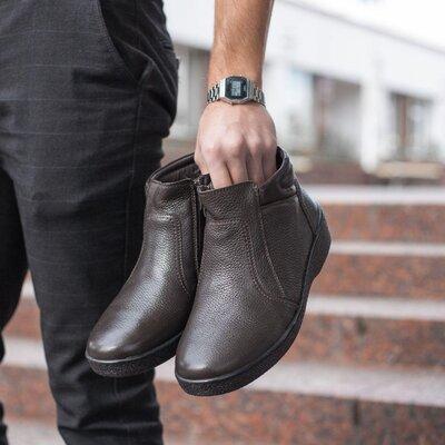 Кожаные зимние мужские ботинки сапоги на меху стильные фабричное производство топ качество класивые
