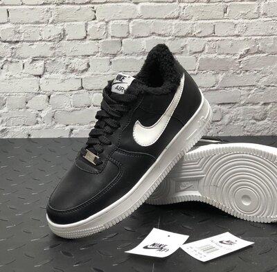 Зимние мужские кроссовки ботинки Nike Air Force Winter. Black White. Кожа.