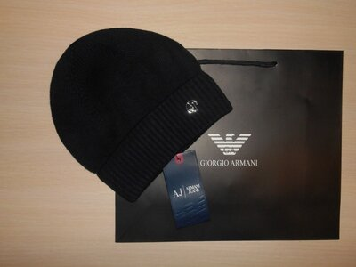 Шапка мужская фирменная теплая зимняя Armani, Италия