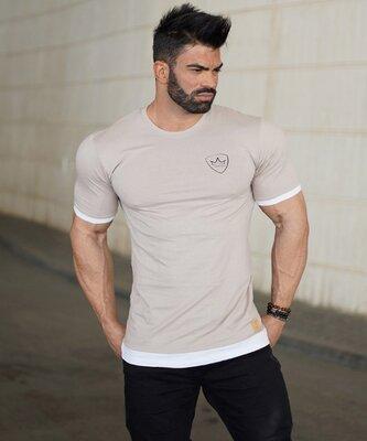 Бежевая футболка MCET - 6536