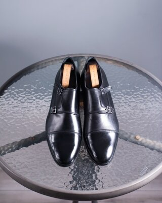 Кожаные двойные монки, Италия 45 мужские туфли классические под костюм