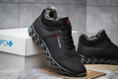 Зимние мужские кроссовки Коламбия, черные, кожа, мех