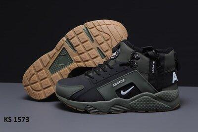Зимние Мужские Кроссовки Nike Huarache Arcnm зеленый - хаки KS 1573