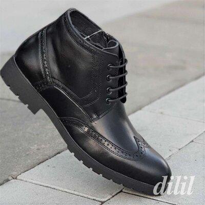 Ботинки мужские зимние кожаные черные - чоловічі зимові черевики шкіряні чорні