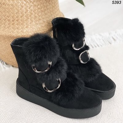 Женские замшевые зимние ботинки с мехом