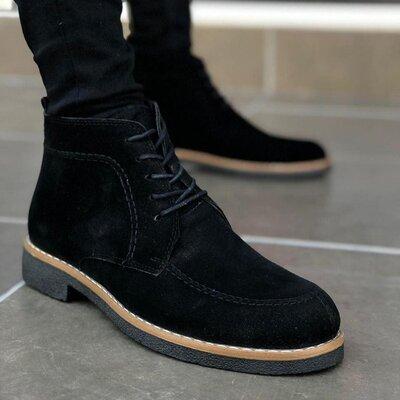 Шикарные мужские ботинки из натурального нубука демисезонные осенние весенние стильные черные дизер