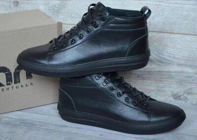 Мужские ботинки, кеды safari чёрные кожаные на меху