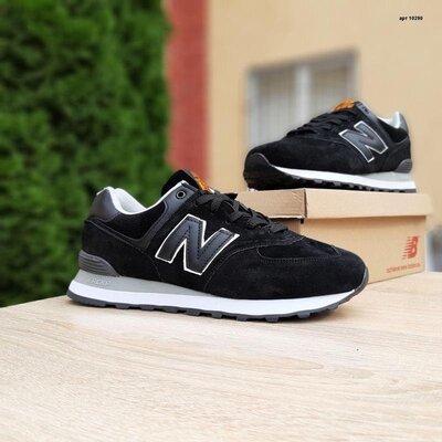 Мужские кроссовки new balance 574 чёрные на белой
