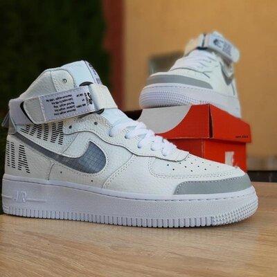 Мужские кроссовки nike air force 1' 07 высокие белые с серым