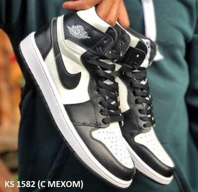 Как оригинал Мужские Кроссовки с мехом Nike Air Jordan 1 Retro High черно-белые Зима KS 1582