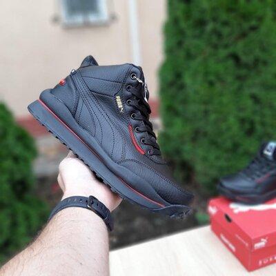Зимние кроссовки Puma Rider 020 чёрные с красным, мех