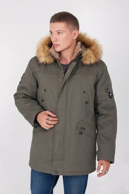 Зимняя мужская куртка меховая подкладка 46 48 50 52 54р хаки коричневый