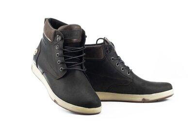 Акция Мужские ботинки кожаные зимние черные-матовые