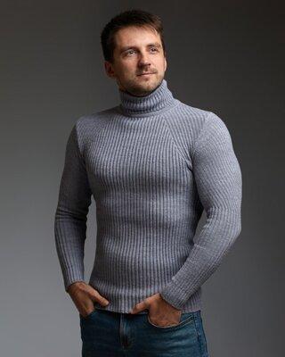 Теплый мужской гольф серый