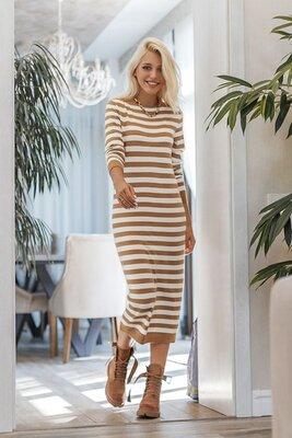 Вязаное платье прямого силуэта длиной миди в полоску 2цв, 3размера.