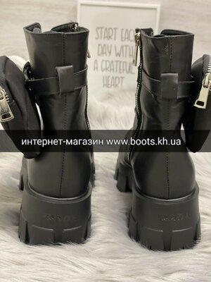 Женские ботинки в стиле prada с сумочной кошельком из натуральной кожи берцы грубые ботинки