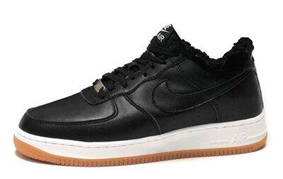 Мужские черные кроссовки с мехом Nike Air Force Reflective