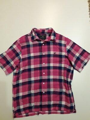 Фирменная яркая льняная рубашка M