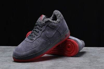 Зимние мужские кроссовки 31732 Nike Air AF1 мех , темно-серые