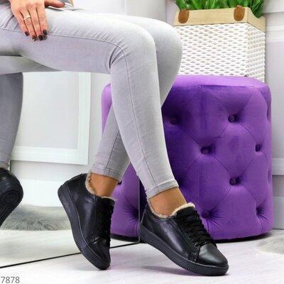 Женские натуральные кожаные зимние чёрные белые бежевые кроссовки кеды криперы