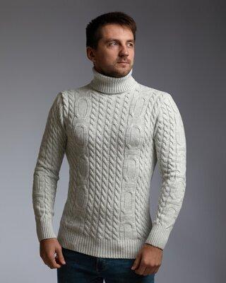 Теплый светло-серый мужской свитер с узором Цепи