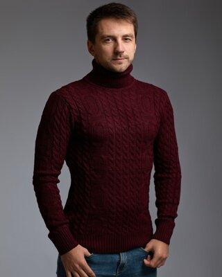 Теплый бордовый мужской свитер с узором Цепи